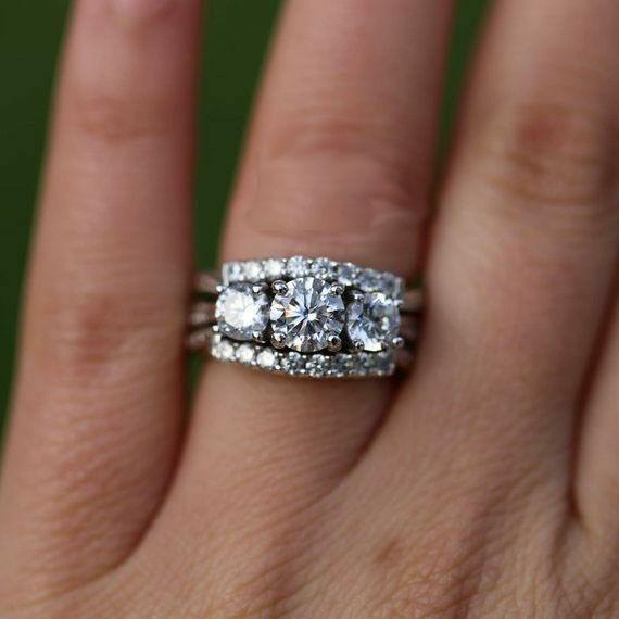 2Ct Round-Cut Diamond Trow Sat 3 Stone Engagement Ring 14K White gold Finish