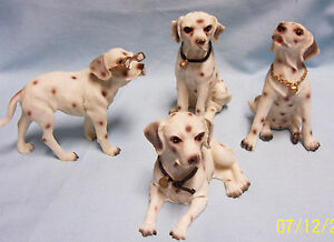 Set-4-Dalmatian-Collectible-Dogs-Different-Positions-Resin-Cute-w-Great-detail