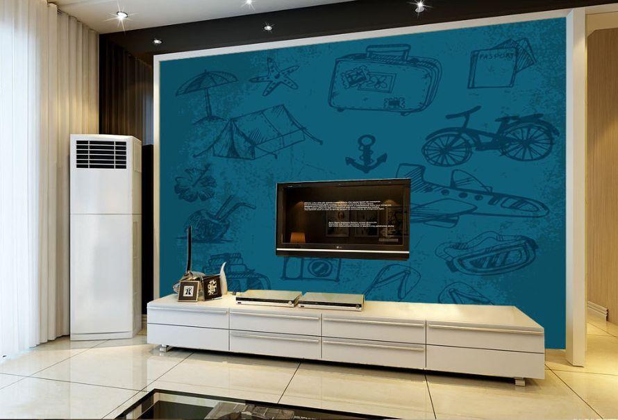 3D Peinture Graffit Photo Papier Peint en Autocollant Murale Plafond Chambre Art