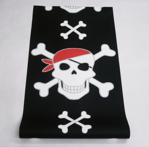 1 Rolle Vliestapete starkes Design Totenkopf schwarz silber weiss 6348-18-7