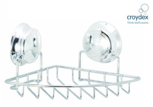Croydex Twist N Lock Storage Caddy Chrome Suction Fix Bathroom Organizer Tidy