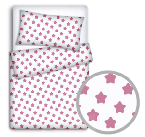 BABY BEDDING SET 120x90 PILLOWCASE DUVET COVER 2PC FIT COT BIG PINK ON WHITE