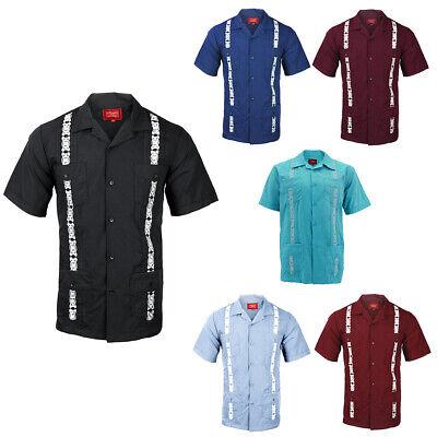 Guayabera Men/'s Cuban Beach Wedding Short Sleeve Button-Up Two Tone Dress Shirt
