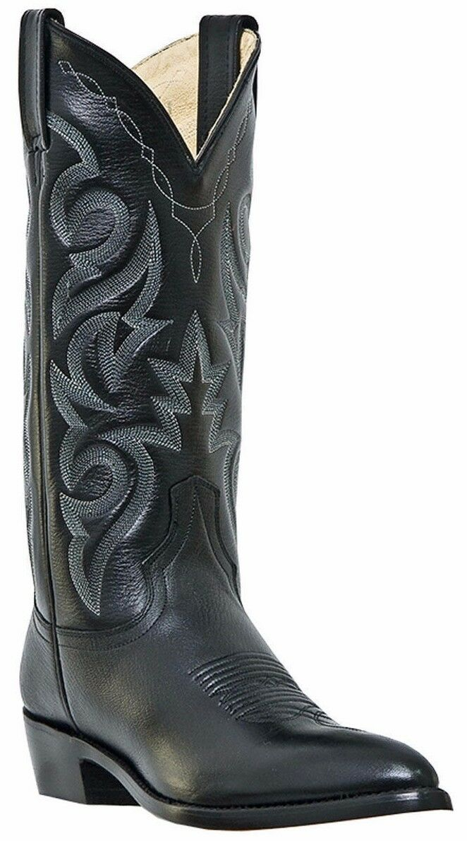 Dan Post Milwaukee 01-DP2110J-BK Hombre Cuero Negro Vamp botas de vaquero J del dedo del pie