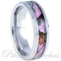Silver Tungsten Real Oak Pink Hunting Tree Camo Ring Womens Mossy Wedding Band