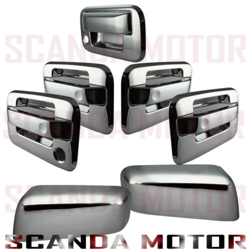 For 04-08 Ford F150 Chrome Mirror Cover Door Handle Cover Tailgate 1 Keyhole