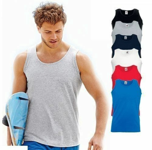 5 Pack Mens Plain Vests Fruit Of The Loom Athletic Tank Top Gym T Shirt Sports