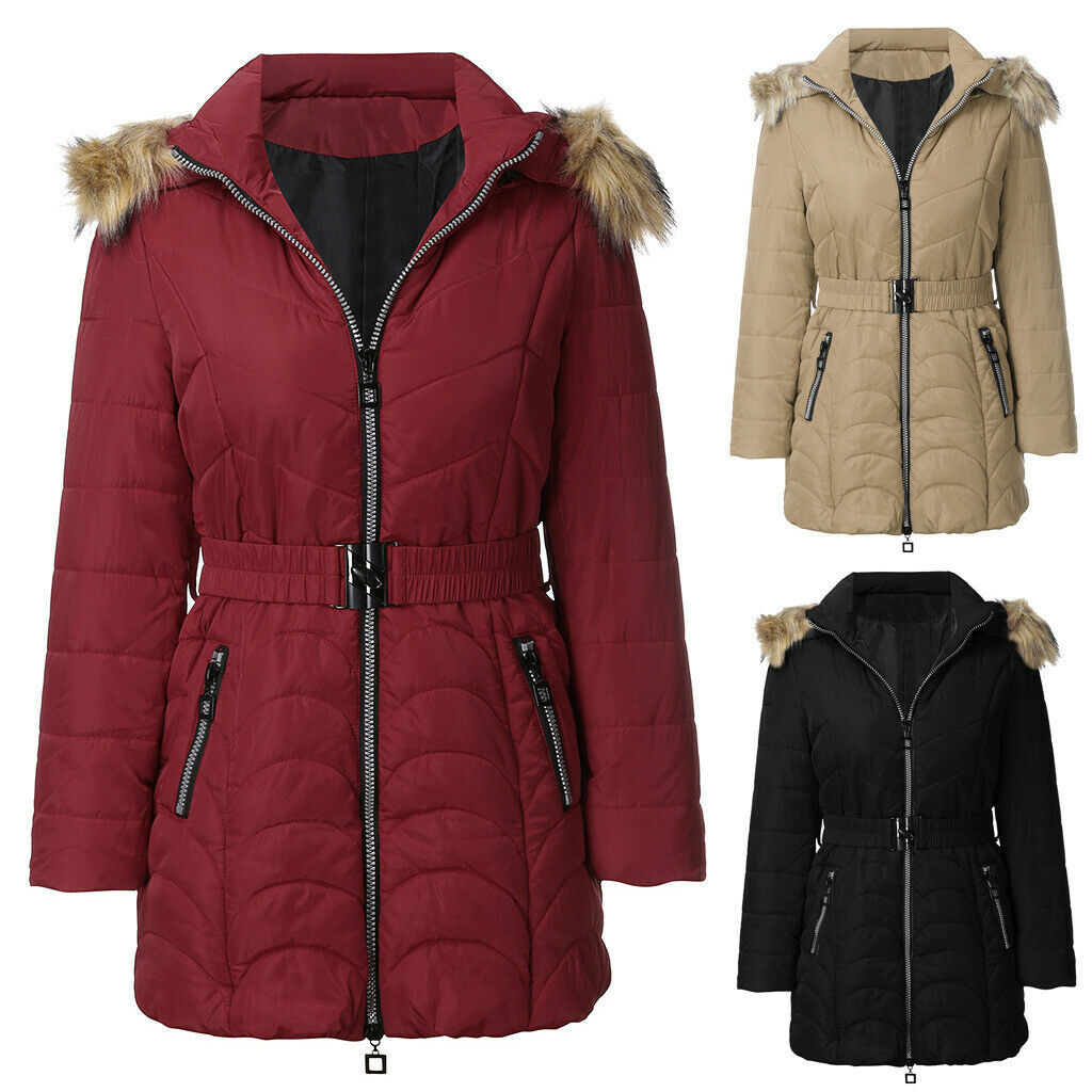 Winter Casual Warm Plus Size Womens Hooded Down Cotton Coat Removable Fur Collar