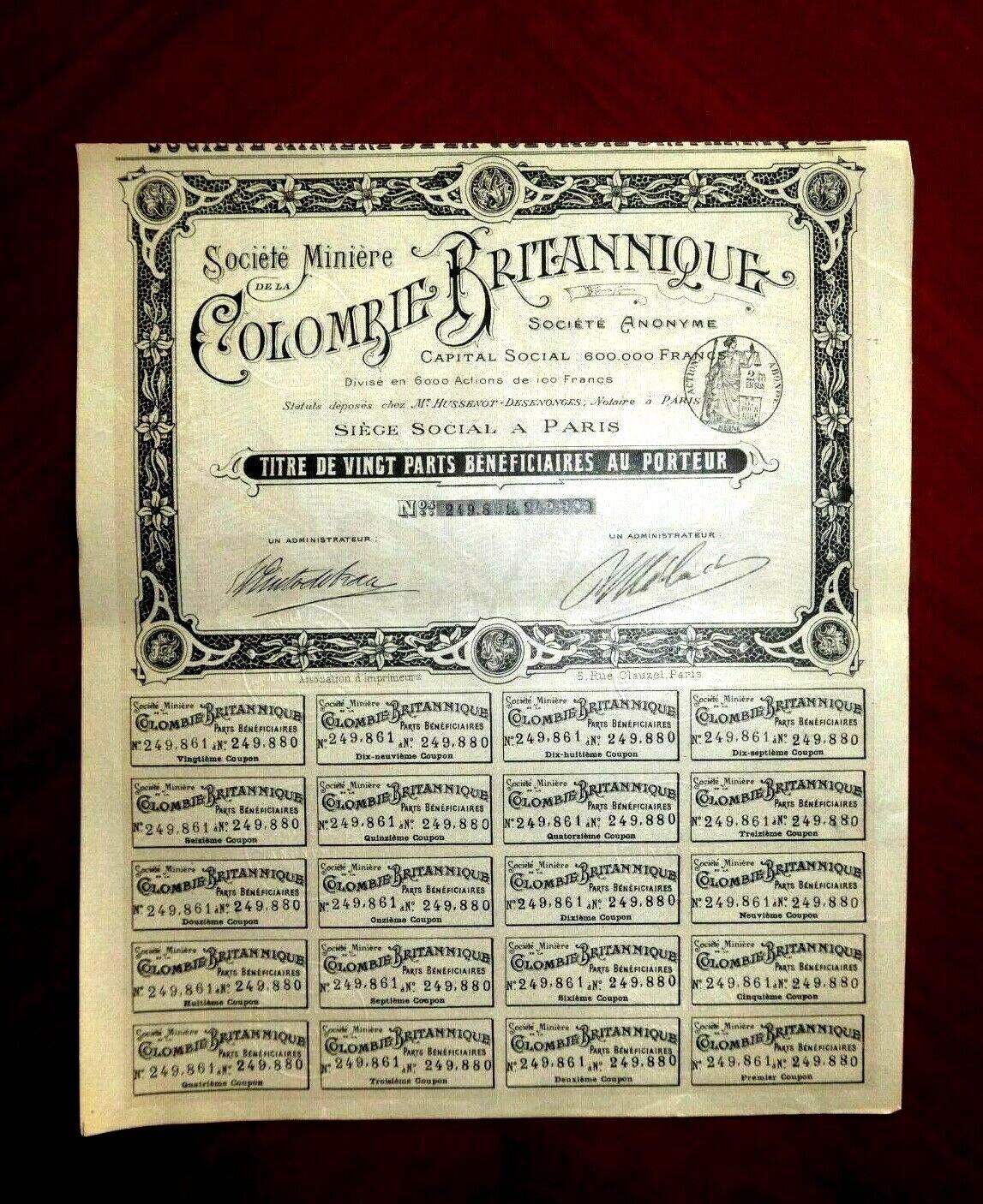 Société Minière Colombie Britannique , British Columbia, Canadá share cert.1903