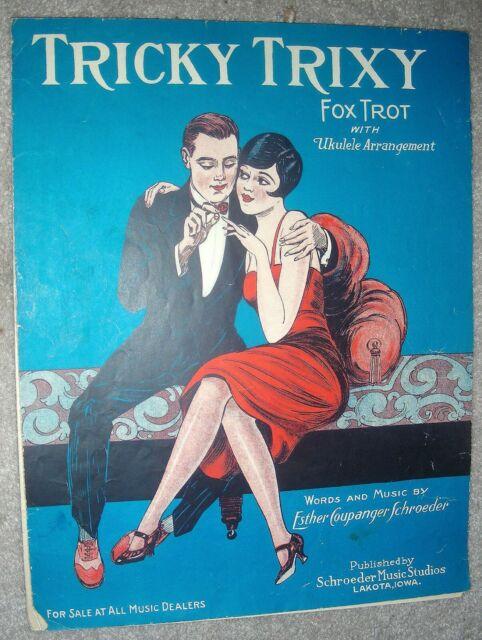 1926 TRICKY TRIXY (Fox Trot) Vintage Sheet Music by Esther Schroeder IOWA