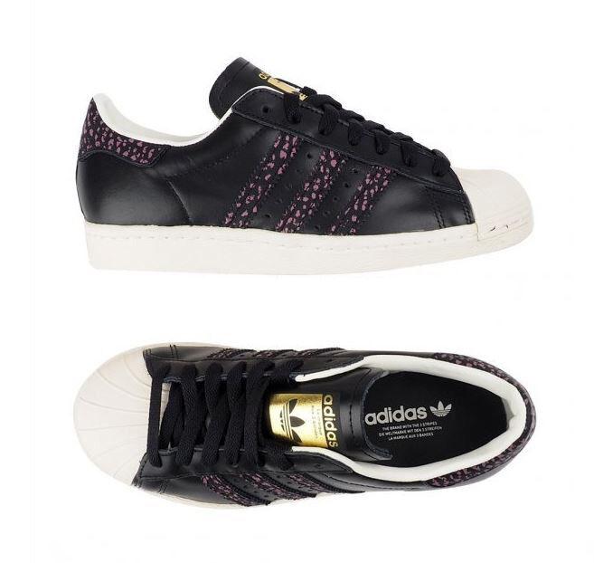 Adidas Original Superstar 80s (S75846) Athletic Sneakers shoes Black Pink Women