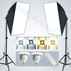 details about photo adjustable 3 color dimmable led softbox lighting soft box light stand kit