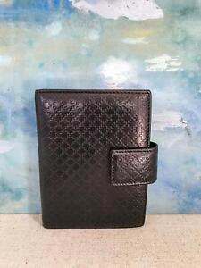 gucci brown diamante web leather snap small agenda address book