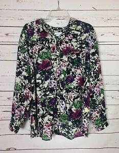 J.Jill Women's Petite Large PL Black Floral Button Long Sleeve Spring Top Blouse