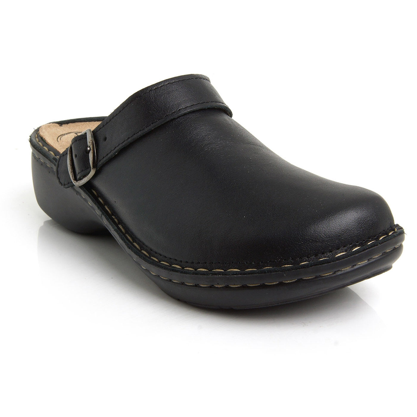 Batz mira 5-zonas Negro de cuero para mujer Slip On Mulas Zuecos Sandalias zapatos nuevo Reino Unido