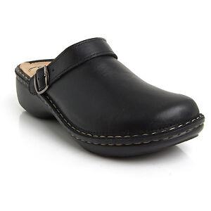 53bb3754064 Batz MIRA 5-Zones Black Womens Leather Slip On Mules Clogs Sandals ...