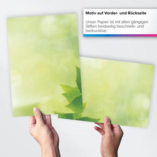 50 Blatt Briefpapier Set DIN A4 Briefbögen Motivpapier Bastelpapier grün Natur