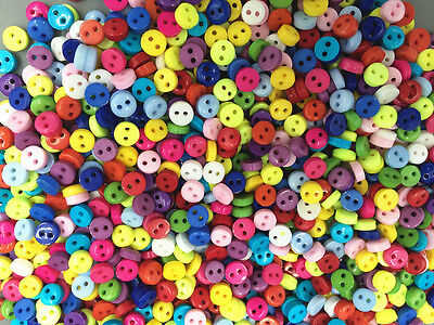 DIY 200pcs Mixed Colors Round Shape Resin Buttons lots 2 holes sewing 6mm Cards