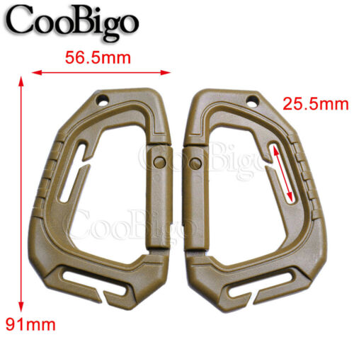 2x Plastic D-Ring Carabiner Snap Hook KeyChain Outdoor Hiking Backpack Accessory