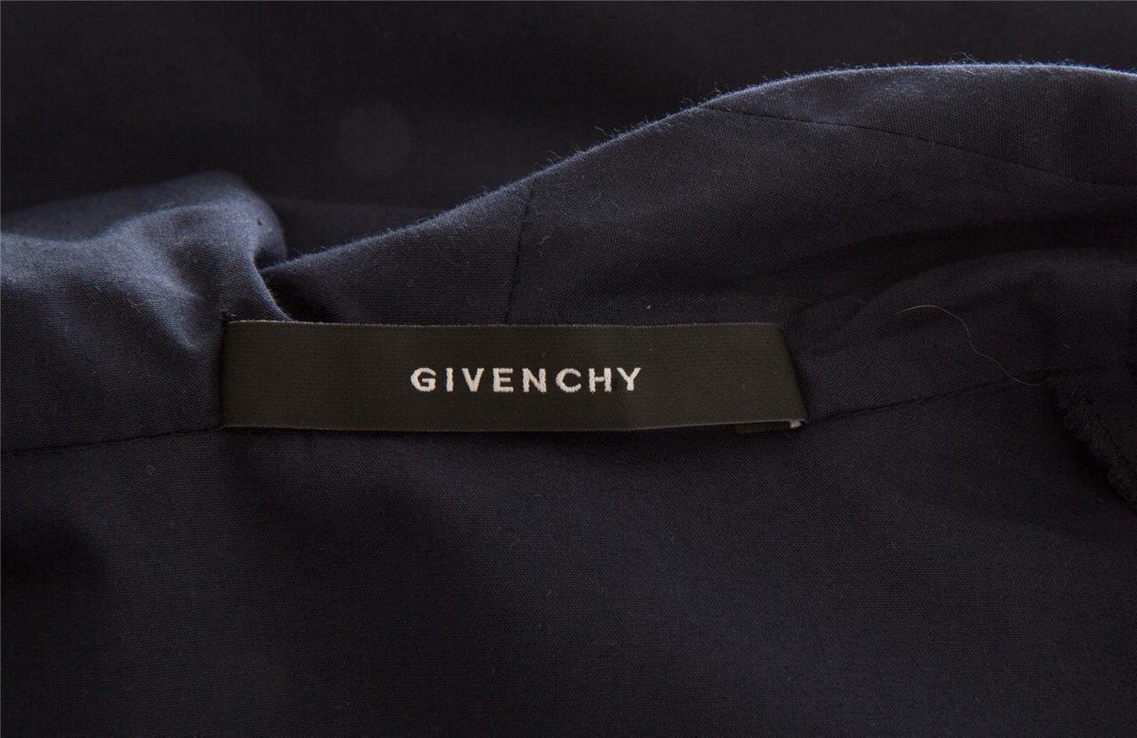 Givenchy Donna Blu Navy Asimmetrico Colletto Bottoni Top Manica Lunga Lunga Lunga 8-40 Nuovo b5b1ad