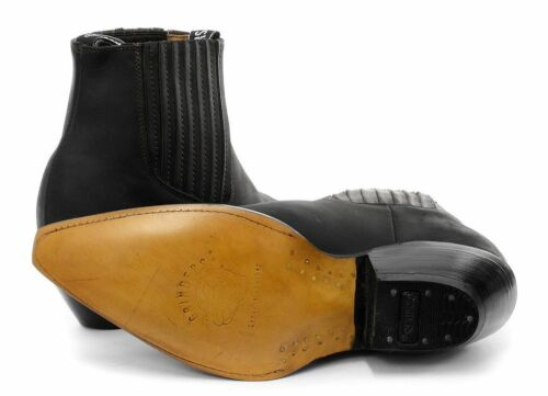 GRINDERS Mustang Unisex Black Leather Cowboy Slip On Cuban Heel Classic Boots