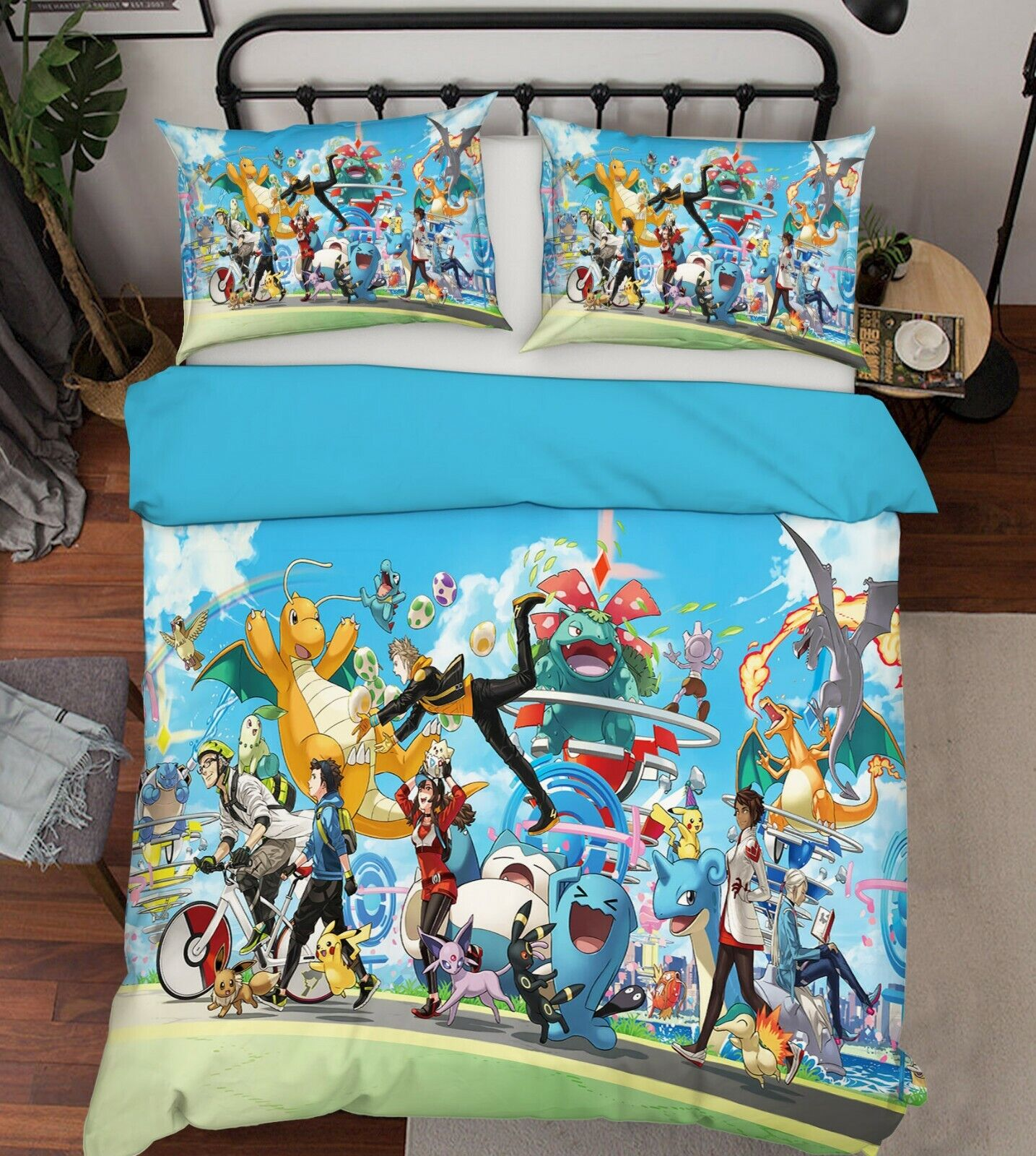 3D Pokemon 536 Japan Anime Bed Pillowcases Quilt Duvet Cover Single AU