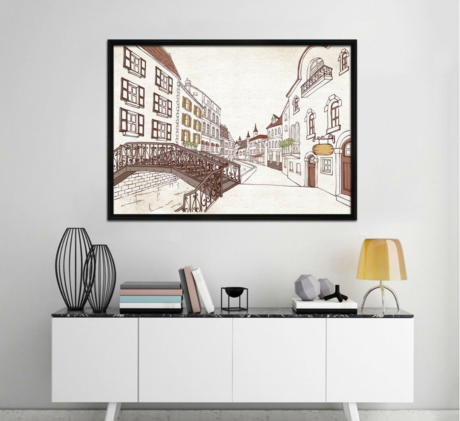 3D Hand Painted Street View 3 Framed Poster Home Decor Print Painting WALLPAPER