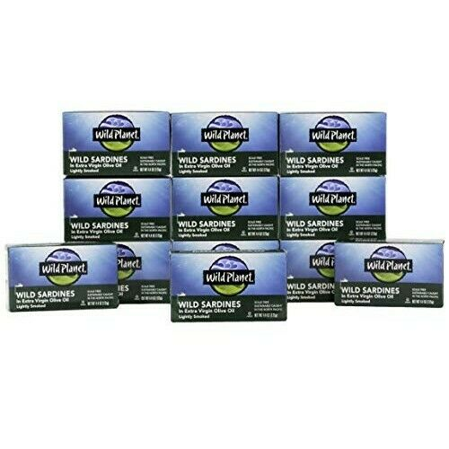 12 X Wild Planet Wild Sardines in Extra Virgin Olive Oil, Lightly Smoked, Keto