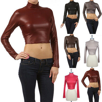 Womens Faux Leather Turtleneck CROP TOP Long Sleeve Tight Fit S M L