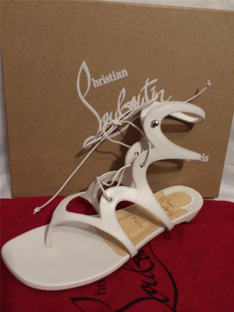 venderse como panqueques Christian Louboutin girafina Bajo De De De Cuero blancooo Gladiador Sandalia Plana Zapatos  promociones de descuento