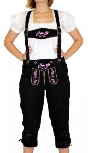 German Wear Damenlederhose Damen Trachten Lederhose Ziegenvelour Schwarz//Rosa