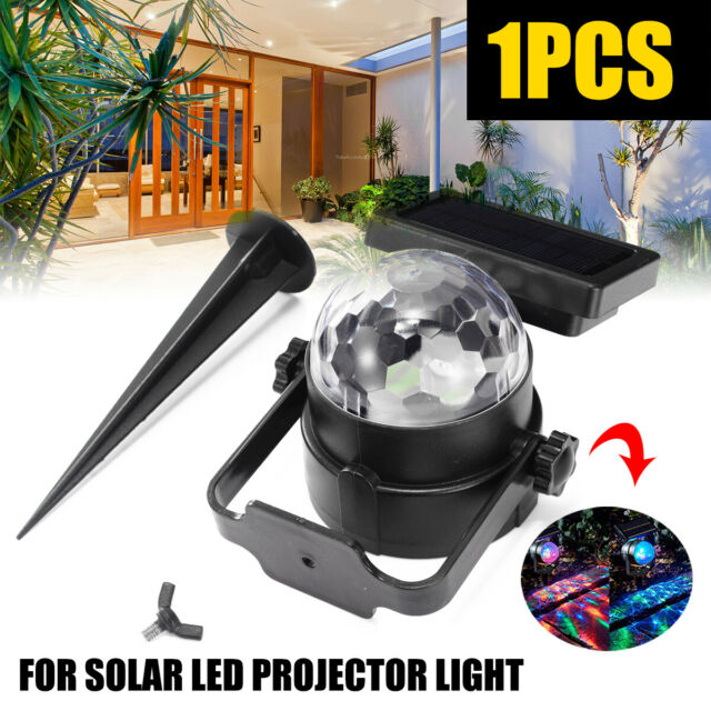 Solar Garden Party Lights Outdoor Landscape Path Yard Rotating Projector Light u