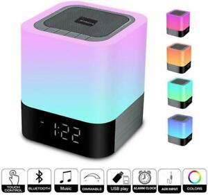 Enceinte-Haut-parleur-Bluetooth-Veilleuse-Lampe-de-Chevet-LED-Tactile-Reveil