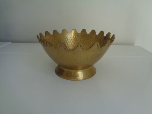 Vintage Solid Brass Scalloped Planter Bowl