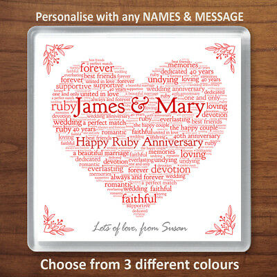 40th Wedding Anniversary Gift.Personalised Ruby 40th Wedding Anniversary Gift Drinks Coaster Word Art Heart Ebay
