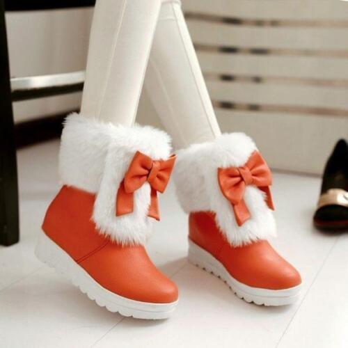 Womens Lolita Bow Tie Flat hidden wedge heels Winter warm Casual Ankle Boots