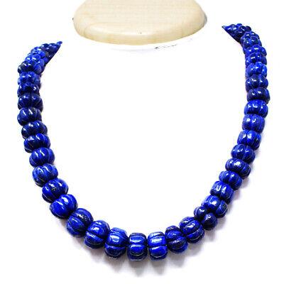 Single Strand 671.00 Cts Earth Mined Blue Lapis Lazuli Beads Necklace NK 47E81