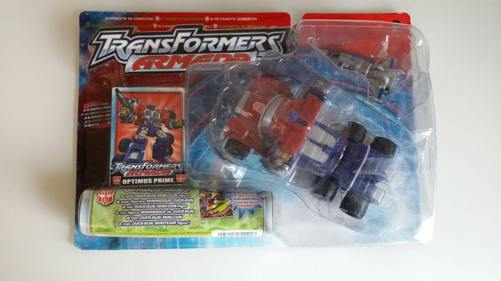 Transformers Armada Optimus Prime With Over-Run Mini-Con Figure Sealed on Card