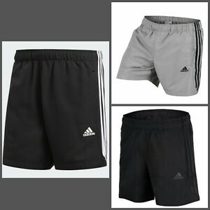 Details about Adidas Ess 3 Stripe Chelsea Climalite Shorts Mens Black Black and White Grey