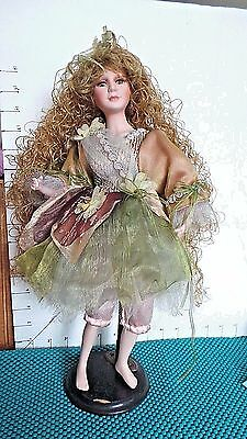 "Doll, Fairy, 16"",Porcelain, Cathay Collection, Very Long Curly Hair, Moss Green"