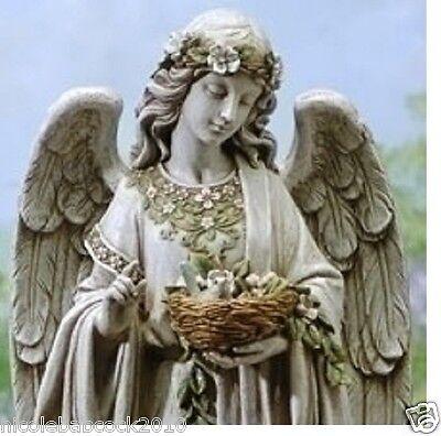 "LARGE 24"" ANGEL WATCHING OVER A NEST OF BIRDS GARDEN HOME STATUE DECOR"
