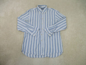 Canali-Button-Up-Shirt-Adult-Large-Blue-White-Striped-Long-Sleeve-Casual-Men-A0