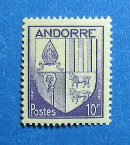 Andorra Modest 1944 Andorra French 10c Scott# 78 Michel # 95 Unused Nh Cs27283 Stamps