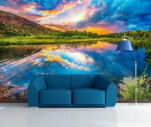 3D Lake Sunset Scenery 1847 Wallpaper Decal Dercor Home Kids Nursery Mural Home
