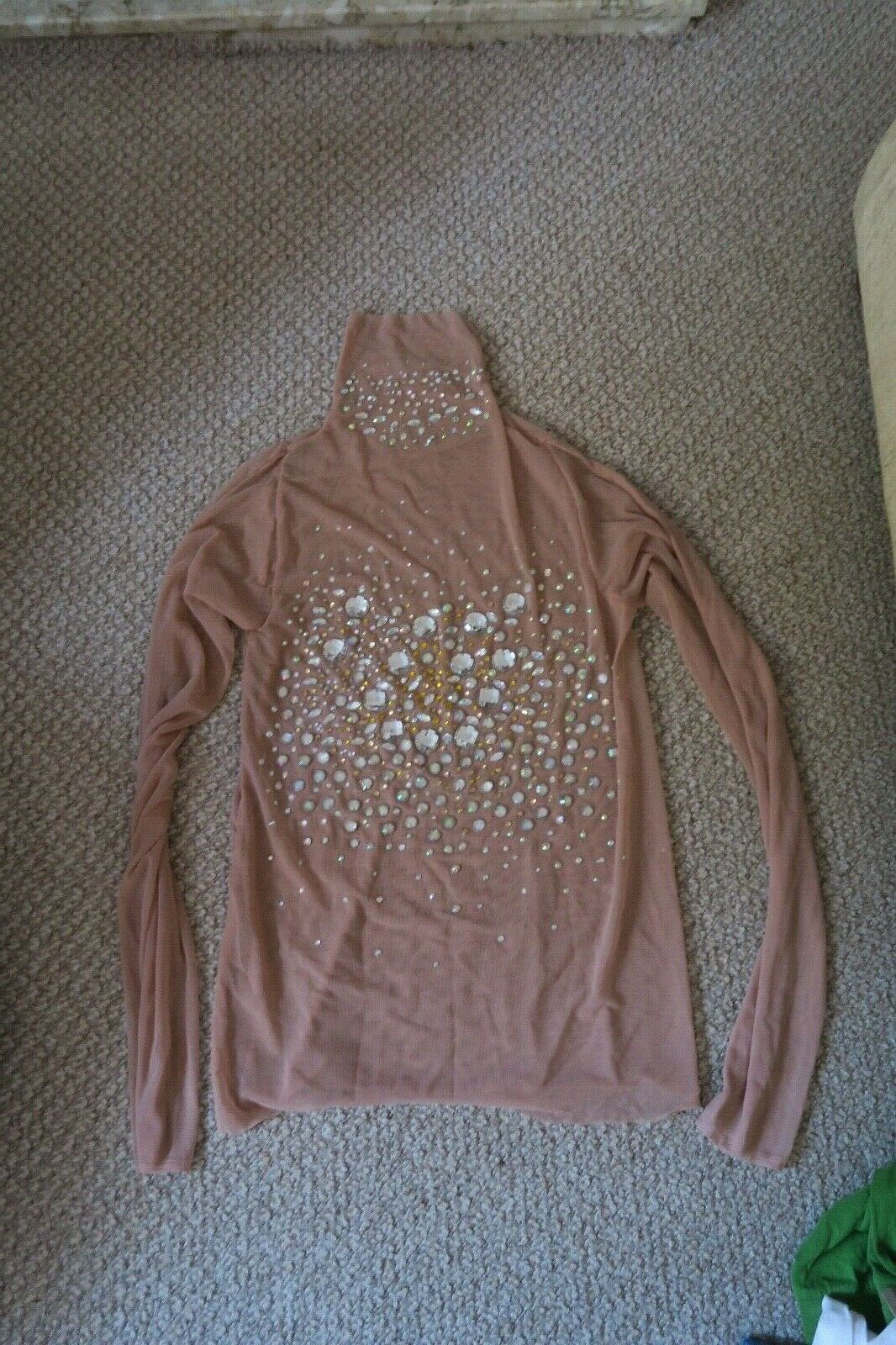 Hand made rhinestone diamante coverot high neck nude sheer mesh top Größe 12