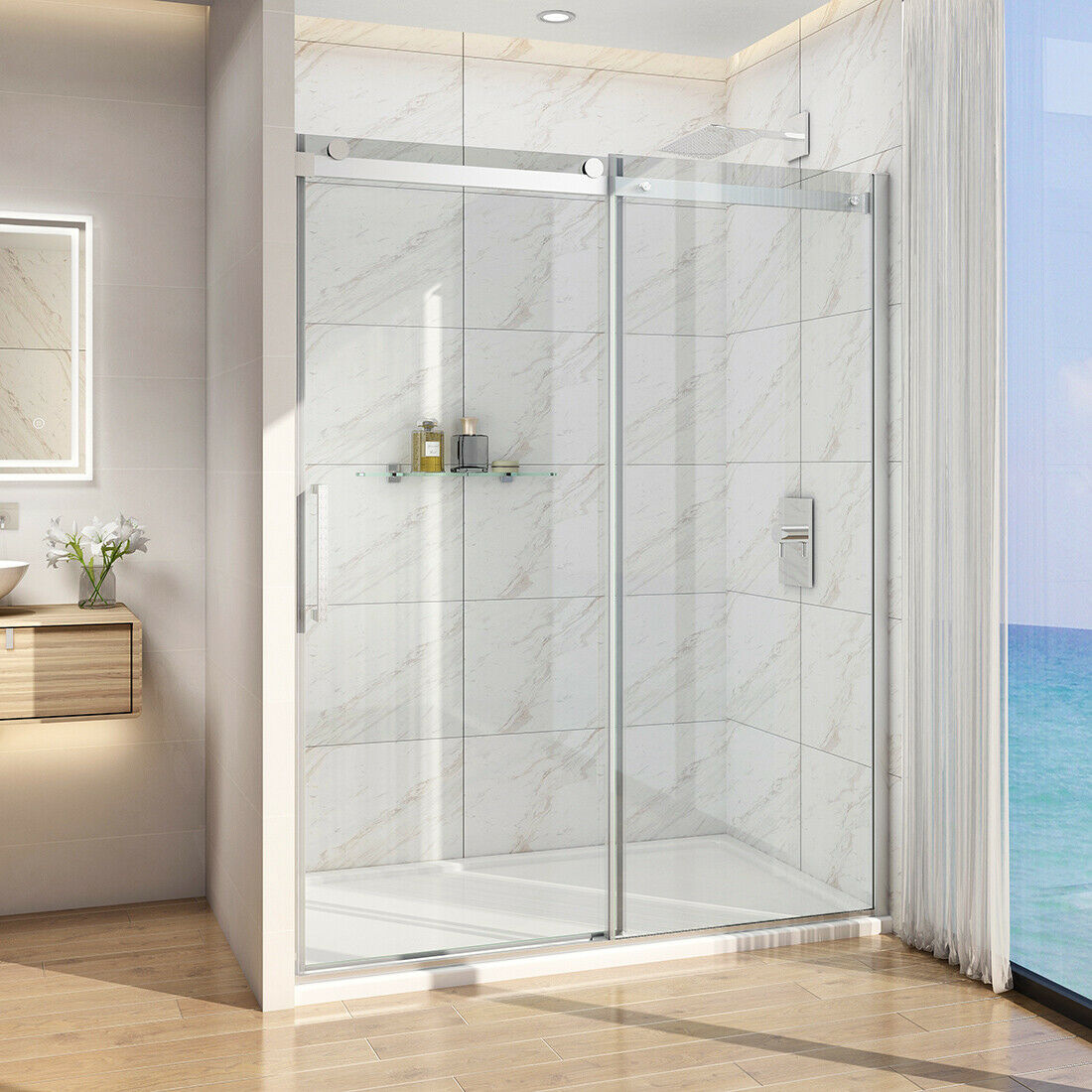 Bath 60 X 72 Frameless Sliding Shower Door Screen 5 16 Glass Brushed Nickel