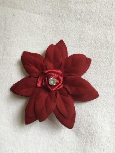 Wedding Flower Girls Ladies Burgundy Flower Hair Clip Fascinator Burgundy Velvet