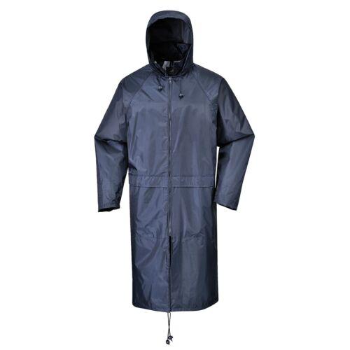 Portwest Long Rain Over Coat Zipped Jacket Poncho Hooded Waterproof Unisex S438