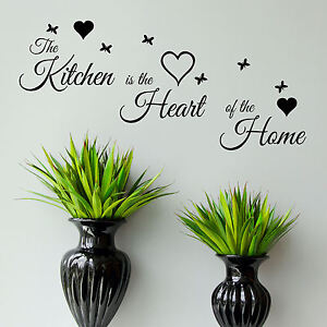 Kitchen-Quote-Wall-Art-Sticker-Heart-of-The-Home-Vinyl-Decal-Transfer-Graphic-UK