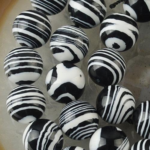 Negro Blanco con rayas suelto bolas de piedras preciosas de color turquesa 15/'/'New 10mm